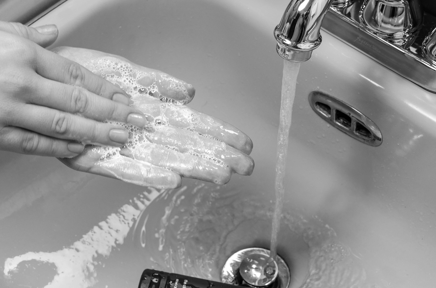 washing hands with cleanser